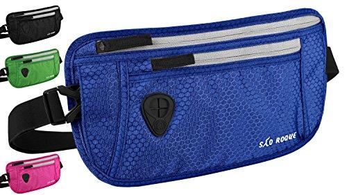 SAO ROQUE Bauchtasche Hüfttasche Reisegürtel mit RFID-Blockierung I flach wasserabweisend I Herren Money Belt Blau