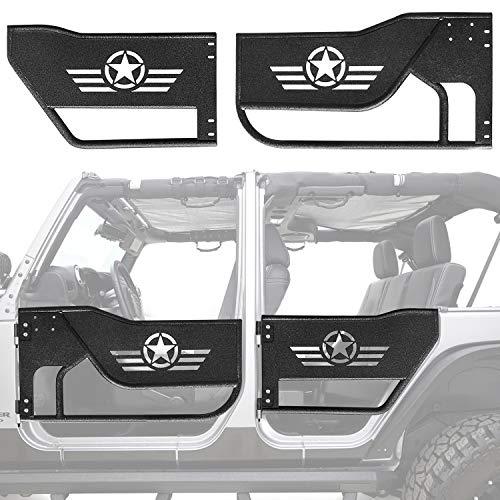 New Steel Tubular Door For Jeep Wrangler JK Unlimited 4 Doors 2007-2018 Front /& Rear Black Tube Half Doors