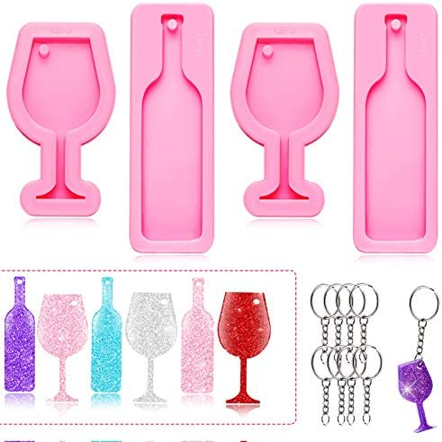 4 Pieces Mini Wine Glass Keychain Mold Goblet Tumbler Wine Bottle Shape Silicone Fondant Mold product image