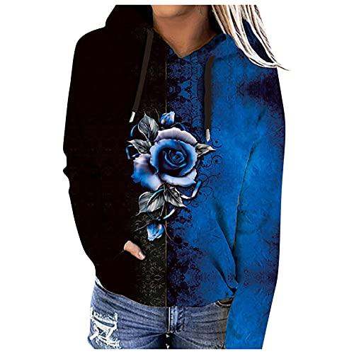 BIBOKAOKE Sudadera con capucha para mujer, manga larga, cuello en V, tira de botones, suéter de bloque de color, sudadera deportiva informal con capucha, Blau14, L