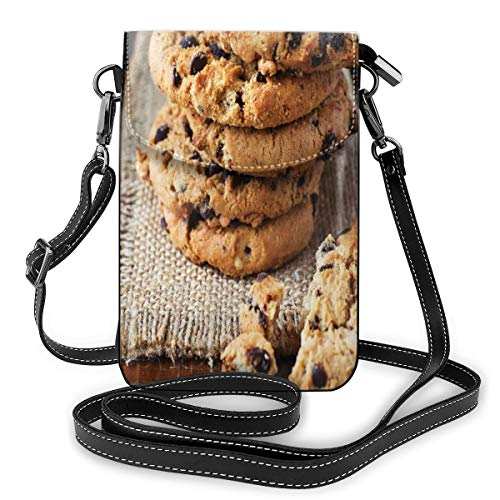 Women Mini Purse Crossbody of Cell Phone,Homemade Brown Baked Doughy Goods and Crumbs Dessert Focused Treats Cooking Theme