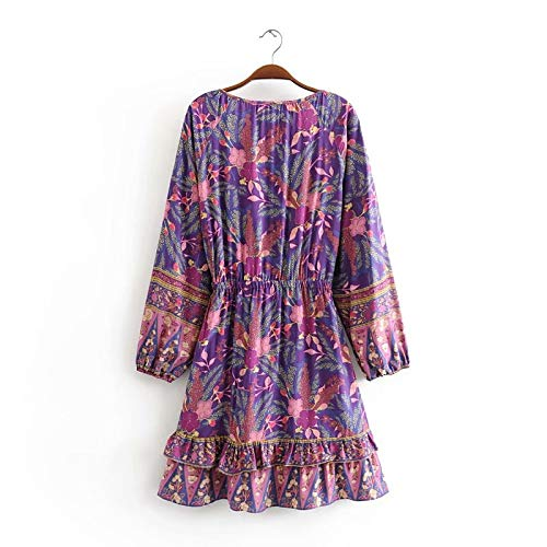 Miwaimao Retro amigable mujer hippie flor cuello en V Bohemia mini vestido de las señoras de manga larga cintura onda de radio bohemio vestido viento púrpura S