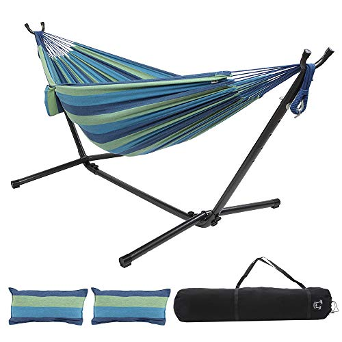 ONCLOUD Double Hammock with 9 FT Steel Stand Space Saving, Hammock Stands Heavy Duty Includes Portable Carrying Case for Outdoor or Indoor (Yellow Blue)