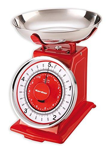 Karcher balance de cuisine mécanique - design rétro - max. 5 kg - rouge