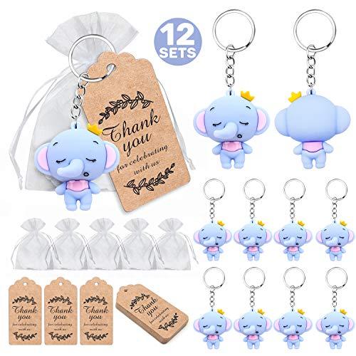iZoeL Babyparty Gastgeschenk 12 Elefanten Schlüsselanhänger Junge Kinder Geburtstag Taufe Baby Shower Party Mitgibsel
