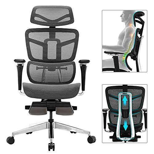 Ergonomic Office Chair - Mesh Desk Chair with 5D Armrest, Computer Chair with Multiple Adjustments: Lumbar Support, Headrest, Backrest, Seat Depth & Height. BIFAMA and SGS Passed Gaming Chairs, Grey