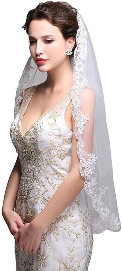 Jovono 1T Bride Wedding Veil 35.43'' Long Waist Length Bridal Tulle With Combs and Lace Edge