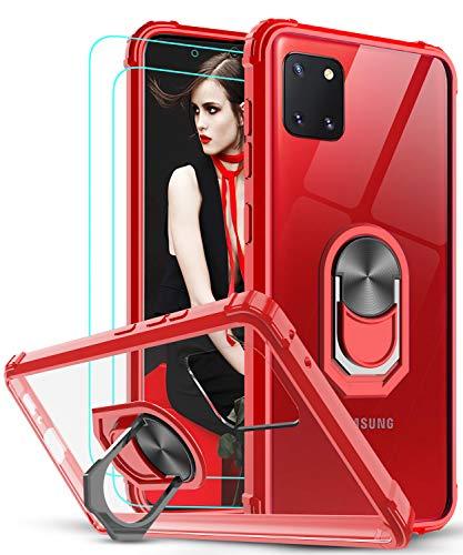LeYi Funda Samsung Galaxy Note 10 Lite / A81 con [2-Unidades] Cristal Vidrio Templado,Transparente Carcasa con 360 Grados iman Soporte Silicona Bumper Antigolpes Armor Case para Movil A81,Clear Rojo