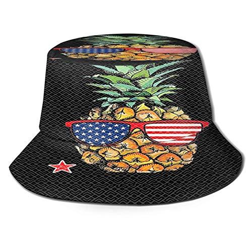Gafas de Sol de piña Sombrero de Cubo con Bandera Americana Gorra de Verano Unisex al Aire Libre Sombreros de Sol Plegables para Senderismo Deportes de Playa Negro