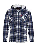shelikes Unisex Mens Fleece Sherpa Fur Lined Lumberjack Hood Check Quilted Thermal Shirt [Navy/Blue (Hooded) XXXL]