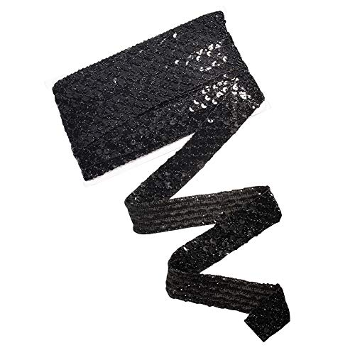 PandaHall Cinta de lentejuelas de color negro metalizado y elástico, para decorar vestidos, diademas, disfraces, etc.