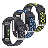 UMAXGET 3-Pack Sport Bands Compatible with Fitbit Charge 2 Bands, Adjustable Replacement Wristbands for Women Men (Large-Green, Gray, Blue)