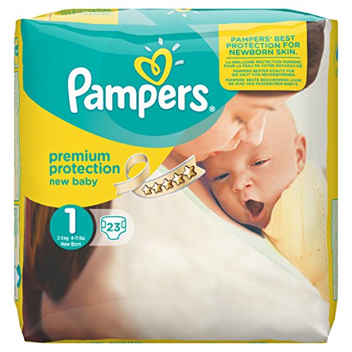 Pampers Windeln New Baby, Gr. 1 Newborn 2-5 kg Tragepack, 4er Pack (4 x 23 Stück)