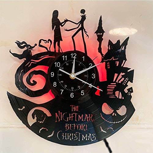 The Nightmare Before Christmas Vinyl Record Wall Clock-Jack Skellington and Sally 12' Vinyl CD Quartz Clock |Halloween Lights Decoration | Compatible with Disney Cartoon Themed Rooms (A-with LED)