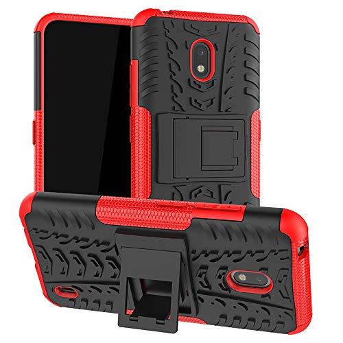 LiuShan Kompatibel mit Nokia 2.2 Hülle, Dual Layer Hybrid Handyhülle Drop Resistance Handys Schutz Hülle mit Ständer für Nokia 2.2 (2019) Smartphone(mit 4in1 Geschenk verpackt),Rot