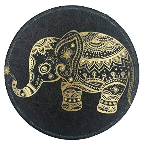 Nakapa Mouse Pad,Anti Slip Rubber Round Mousepads Desktop Notebook Mouse Mat for Working and Gaming (Golden Elephant)