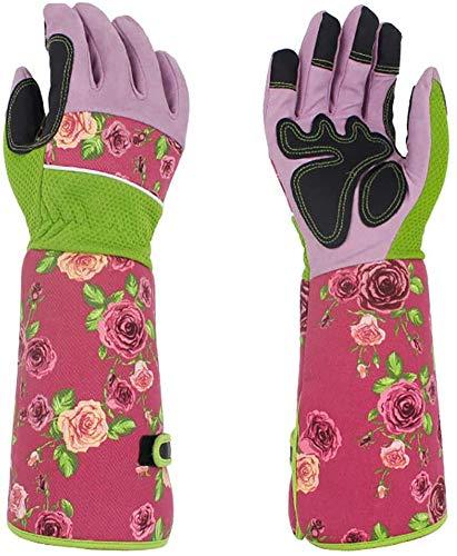 Lange Gartenhandschuhe für Frauen, hübscher dornensicher Damen-Gartenhandschuh mit 37 cm langen Ärmeln, schützt Ihre Arme bis zum Ellenbogen (Pink)