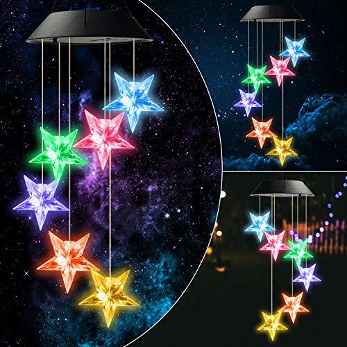 Urban Deco Solar Lichterketten, Farbwechsel LED Mobile Kolibri Windspiele, wasserdichte Outdoor Solar Lichter für Home Yard Patio Garden (Sterne Glockenspiele)