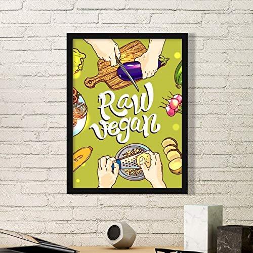 DIYthinker Vegano Crudo Verduras Patata Tomate Simple de Fotos Marco de Cuadros Pinturas de la Pared del hogar de la Etiqueta del Regalo Pequeña Negro