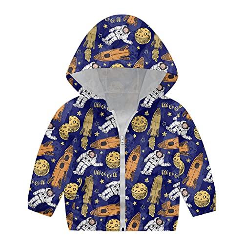 Kids Toddler Baby Windproof Jacket Zipper Hooded Coat Girls Boys Autumn Print Jacket Windproof (Navy, 4-5 Years)