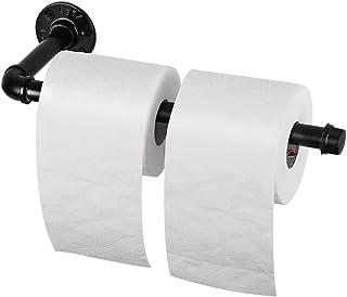 Liheya Wall Mount Paper Towel Holder Industrial Farmhouse Roll Tissue Holder Vintage Pipe Toilet Paper Holder Rustic Paper Towel Rack Under Cabinet for Kitchen, Bathroom