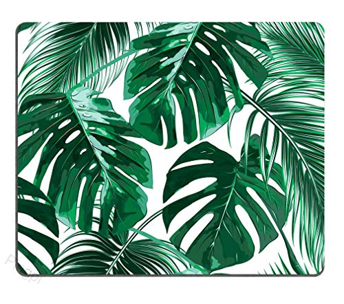 Coseevel 20cm Tropical Leaf Mousepad Mat Beautiful Design Leaves Green with White Background Rectangle Mouse pad