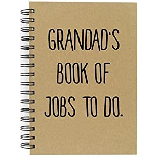 Grandad's Book Of Jobs To Do A5 Kraft Notebook Great Quality Lined Pad Fathers Day Birthday Christmas