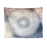 Tapiz de mandala Gobesty, tapiz de tamaño grande Queen, tapiz psicodélico indio, hippie, bohemio, floral, manta de picnic, manta de playa, decoración de pared (150 cm x 130 cm), color gri