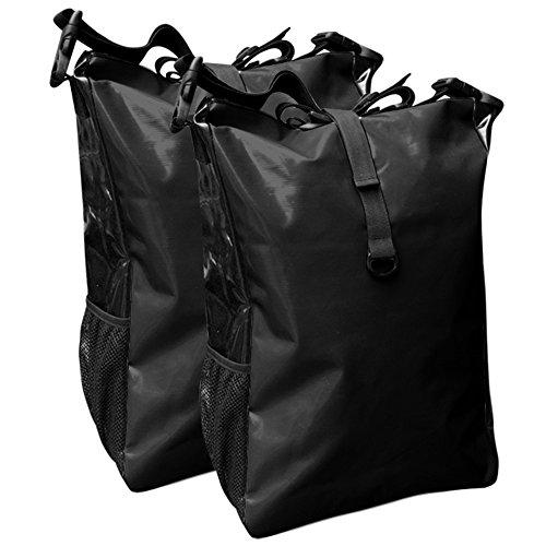 Fahrradtasche für den Gepäckträger aus LKW-Plane 2 Stück mit Farbauswahl ( schwarz/schwarz)
