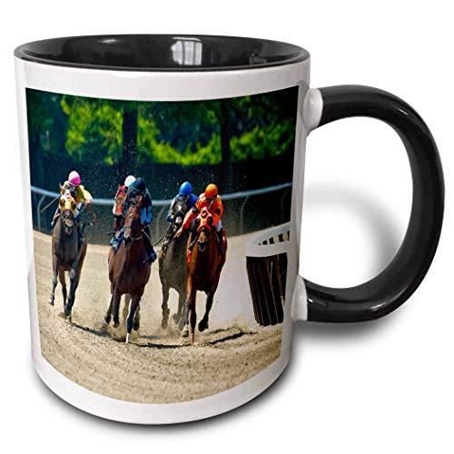 Hdadwy Novedad Taza de cerámica de 11 oz Taza de café divertida Regalo único Grupo de caballos Jinetes de carreras Taza de dos tonos Taza de café blanco y negro con borde y asa de colores para hombres