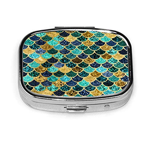 Square Pill Box Medicine Case Mermaid Skin Fish Scales Gold Teal Turquoise Fashion Pill Organizer Travel Pill Case Dispenser for Vitamins Supplements