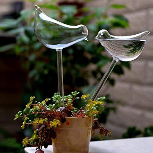 SUJING Auto Regadera Globos Aguamarina Bombillas Soplado a Mano Mini Cristal Automático Planta Irrigador Pájaro/Mariposa Decorativo Diseño - 2pcs Pájaros