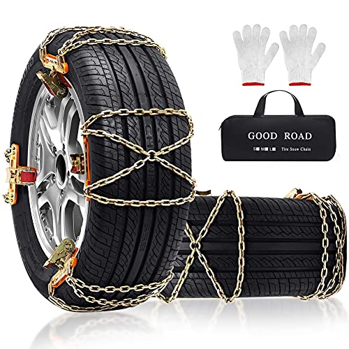 Snow Chains 8 Pcs Snow Tire Chains Security Chain Snow Cables Snow Chains for Cars Passenger SUV Trucks Pickups - 215 225 235 245 255 265 405060 and More