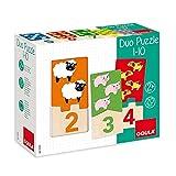Goula, Duo puzzle 1-10, Puzzle de madera para aprender los números para niños a partir de 2 años