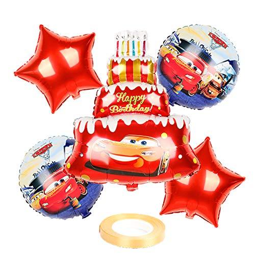 XIAOYAN Globos 6 unids Mcqueen Car Cumpleaños Pastel de Cumpleaños Balloons Baby Shower Fiesta Decoraciones Niños 18 Pulgadas Redondo Coche Helio Ballons Juguetes para niños ( Color : Laser )