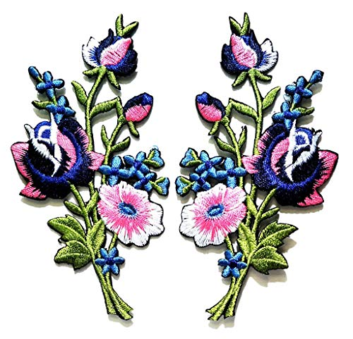 PP Patch Beautiful Blue Pink Orchid Wild Flowers Sew On Iron On Patch Applique Men Women Clothes Dress Plant Hat Jeans Sewing