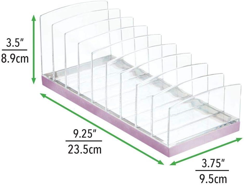Schminkaufbewahrung mit 9 Steckpl/ätzen hell-//dunkelgrau mDesign Kosmetik Organizer aus Kunststoff Aufbewahrungsbox f/ür den Waschtisch Schminktisch oder Schrank