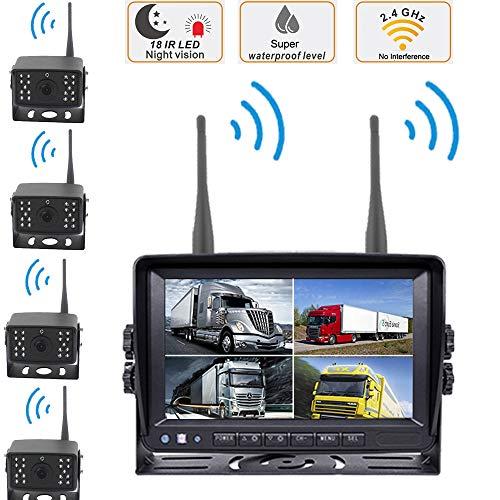 Kit de cámara de Marcha atrás inalámbrica Digital - Monitor de 7 Pulgadas 4 Dividido HD + 4 X Cámara de visión Nocturna de Respaldo con Espejo retrovisor inalámbrico HD, para camión/RV, etc.