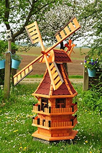 Windmühle 140 cm, XXL-Designer-Mühle Windmühle KLASSIK MIT BALKON-Rand HOLZ Fenster, XL Gartenwindmühle WMB-RA140-ro-OS, ROT voll funktionstüchtig,schöne Details, Fensterkreuz Deko-Windmühlen Out