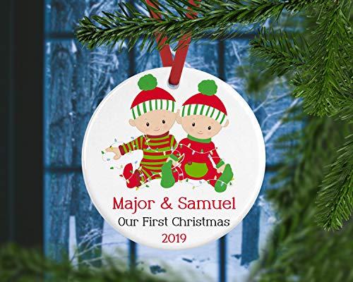 Dozili Babys Eerste Kerst Ornament Tweelingen Gepersonaliseerde Baby Gift Voor Jongen Tweelingen Voor Baby Keepsake Ornament Twin Jongens Kerstmis