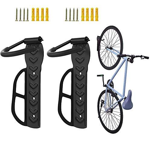 Nuovoware Supporto per Bici [2 PZ], Portabici in Acciaio, Supporti per Biciclette da Parete, Ganci da Parete per Bici in Metallo, Portabicicletta Girevole a 270 Gradi, Fino a 30 KG, Salvaspazio - Nero
