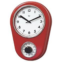 BAI Retro Kitchen Timer Wall Clock, Red