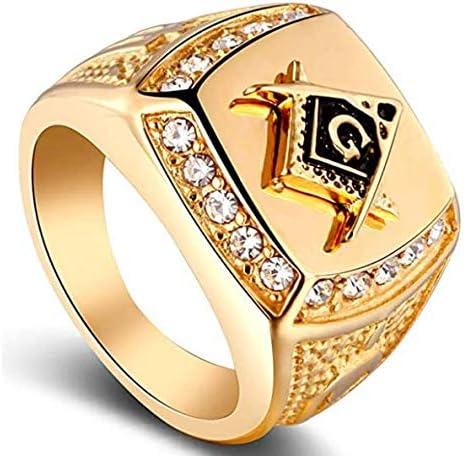 DYD Men s Stainless Steel Masonic Lodge Freemason Ring Signet Biker Rings for Men Golden 9 product image