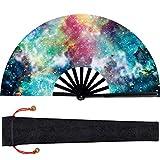 Ventiladores Plegables de Gran Tamaño Ventiladores de Mano de Plástico Ventilador de Mano Chino Japonés Kung Fu Tai Chi Con Funda de Tela para Rendimiento, Decoraciones para Casa Regalos (Color 1)