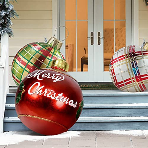 YZBT Giant Christmas PVC Inflatable Decorated Ball,Christmas Inflatable Outdoor Decorations Holiday inflatables Balls Decoration with Pump (J)