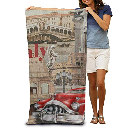 DOKEVFOB Super Soft Bath Towel Italy Leaning Tower of Pisa Red Car Quick-Drying Beach Towel Travel Blanket Swimming Spa Towel Large Size 80 cm X 130 cm