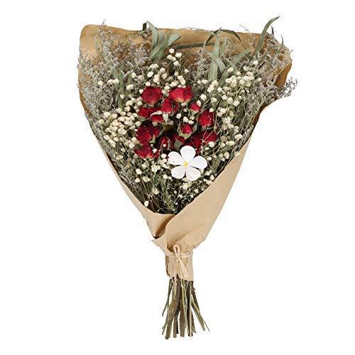 El tamaño del ramo de flores secas es de aproximadamente 43 cm * 25 cm. Hay alrededor de cuatro plantas además de las pequeñas rosas rojas en el ramo. Todo el ramo se ve muy regordete y en capas. Dado que las plantas son puramente naturales, la canti...