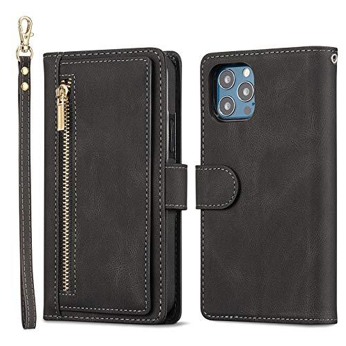 QLTYPRI Funda para iPhone 12 Mini, de gran capacidad, de piel, tarjetero, bolsillo con cremallera, función atril, correa de muñeca magnética para iPhone 12 Mini (5,4 pulgadas), color negro