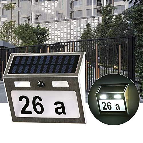 WWSZ Lámpara de número de casa con energía Solar, luz de Placa...