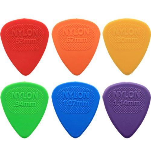24 x Dunlop Nylon Midi Gitaar Picks/Plectrums - 4 van elke grootte in een handige Pick Tin